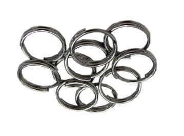10 x STAINLESS STEEL SPLIT RING - KEY RING 1.5mm x 22mm keyring attach